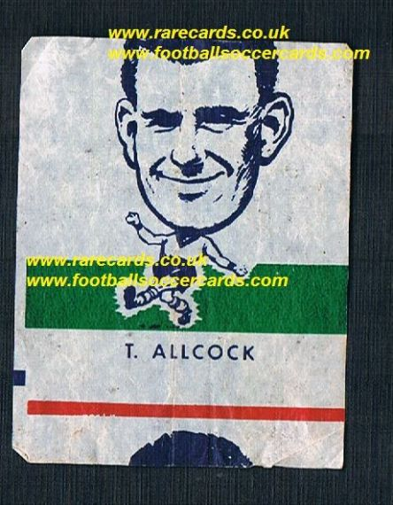 1962 Webcosa T.Allcock Norwich City original wax paper gum insert